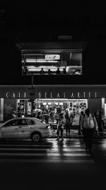 Caix Dark Bw City Street Night