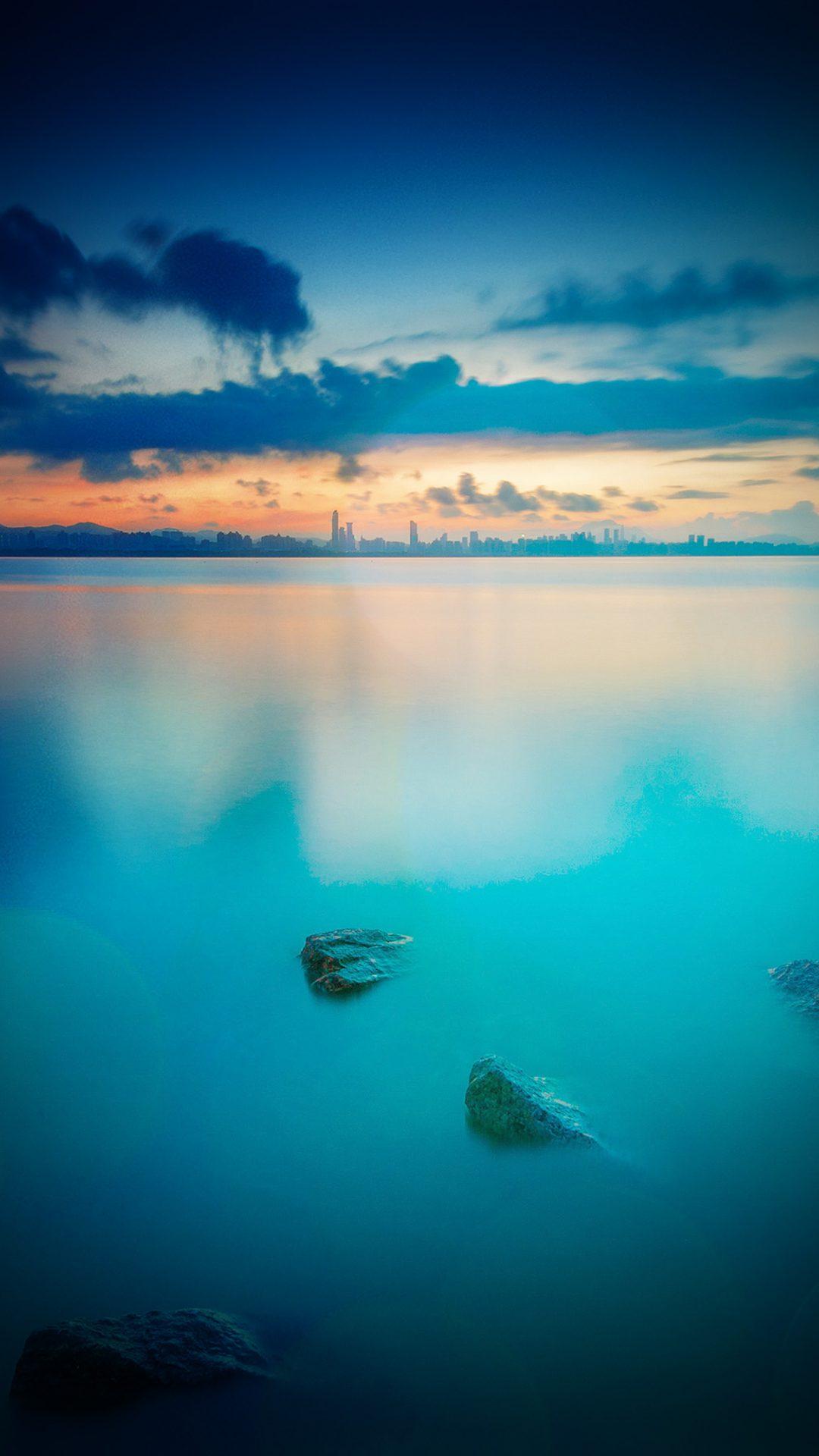 City View River Lake Blue Sunset Nature Vignette Bokeh