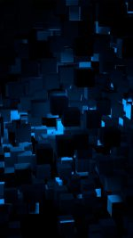 Cube Dark Blue Abstract Pattern