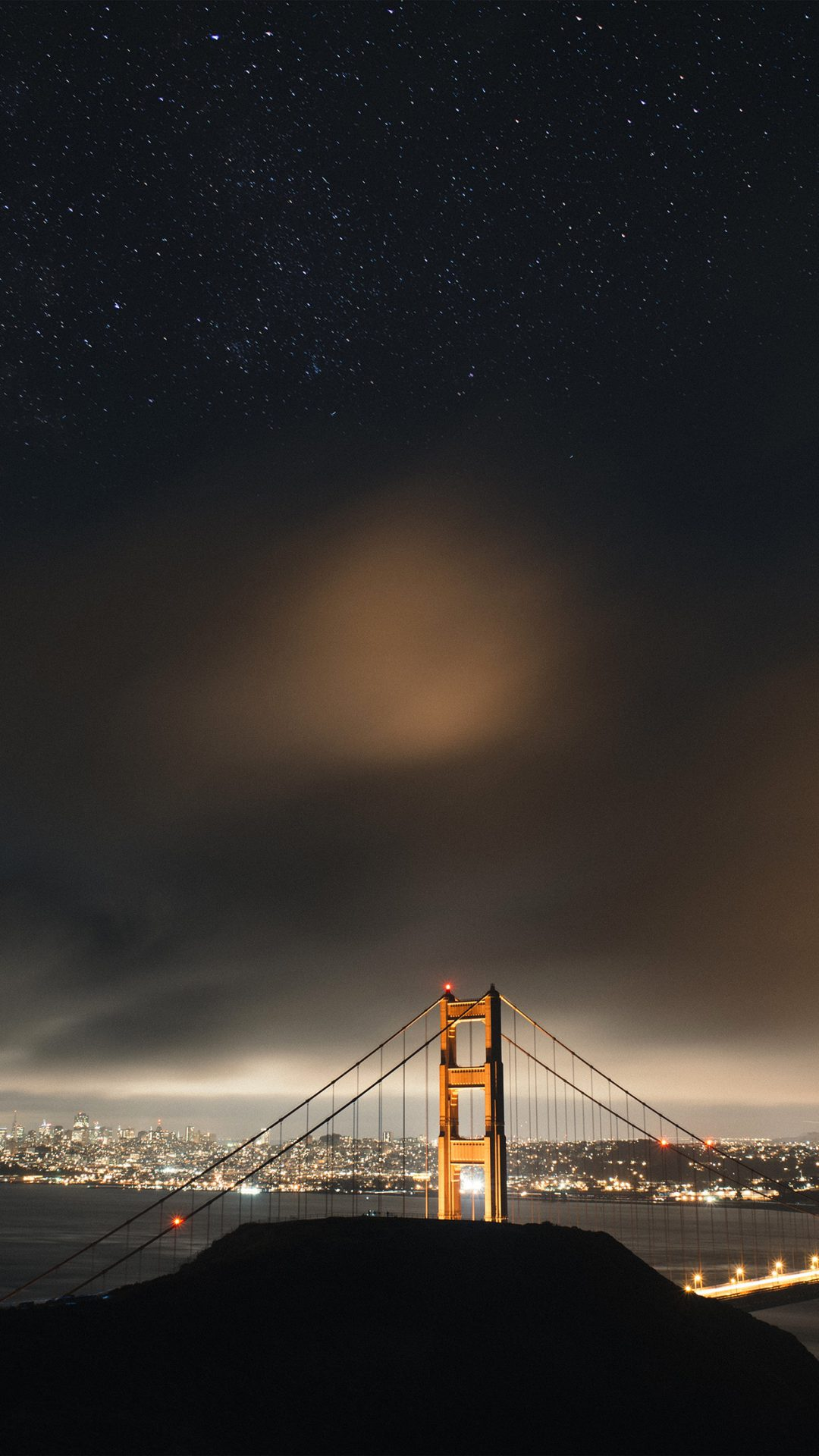 Golden Bridge Sky Star Milkyroad River City Night Dark