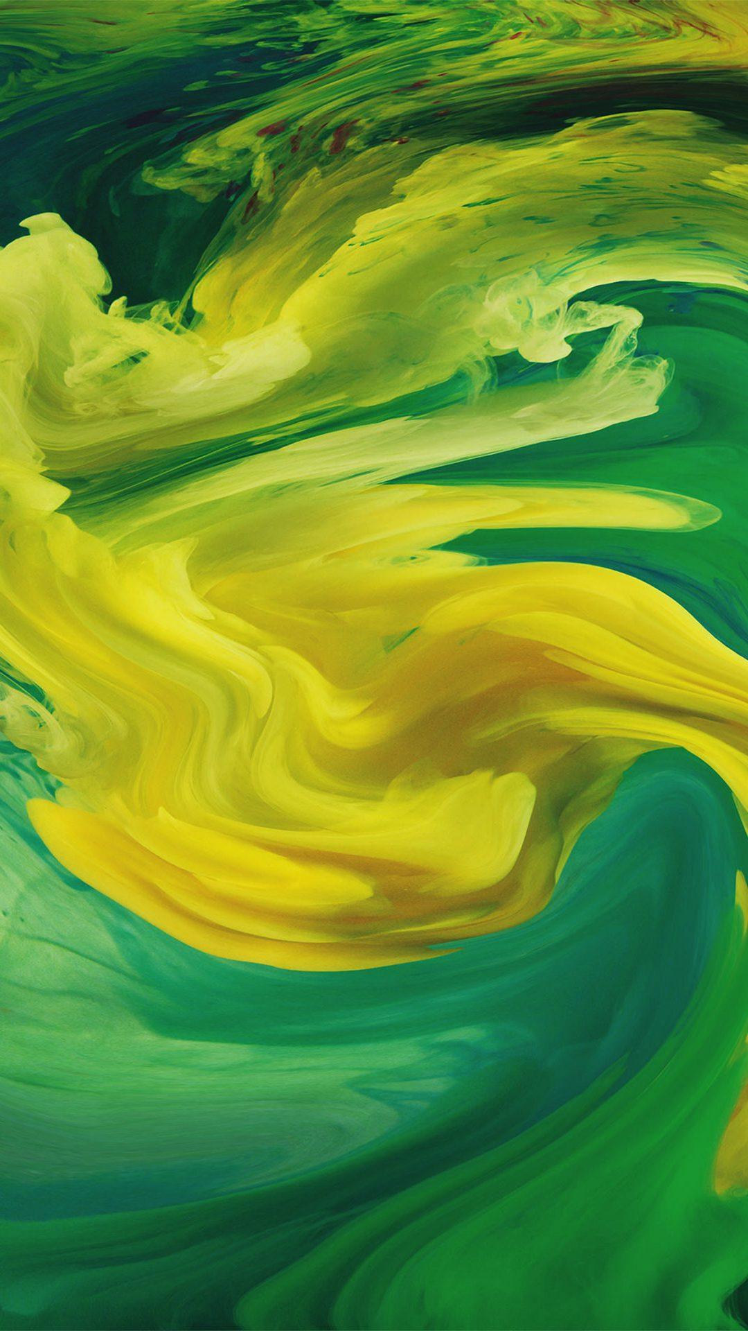 Hurricane Swirl Abstract Art Paint Green Pattern