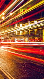 London City Car Lights Night Bokeh Red