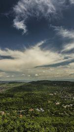 Mountain Green Wood City Sky Cloud Blue Summer