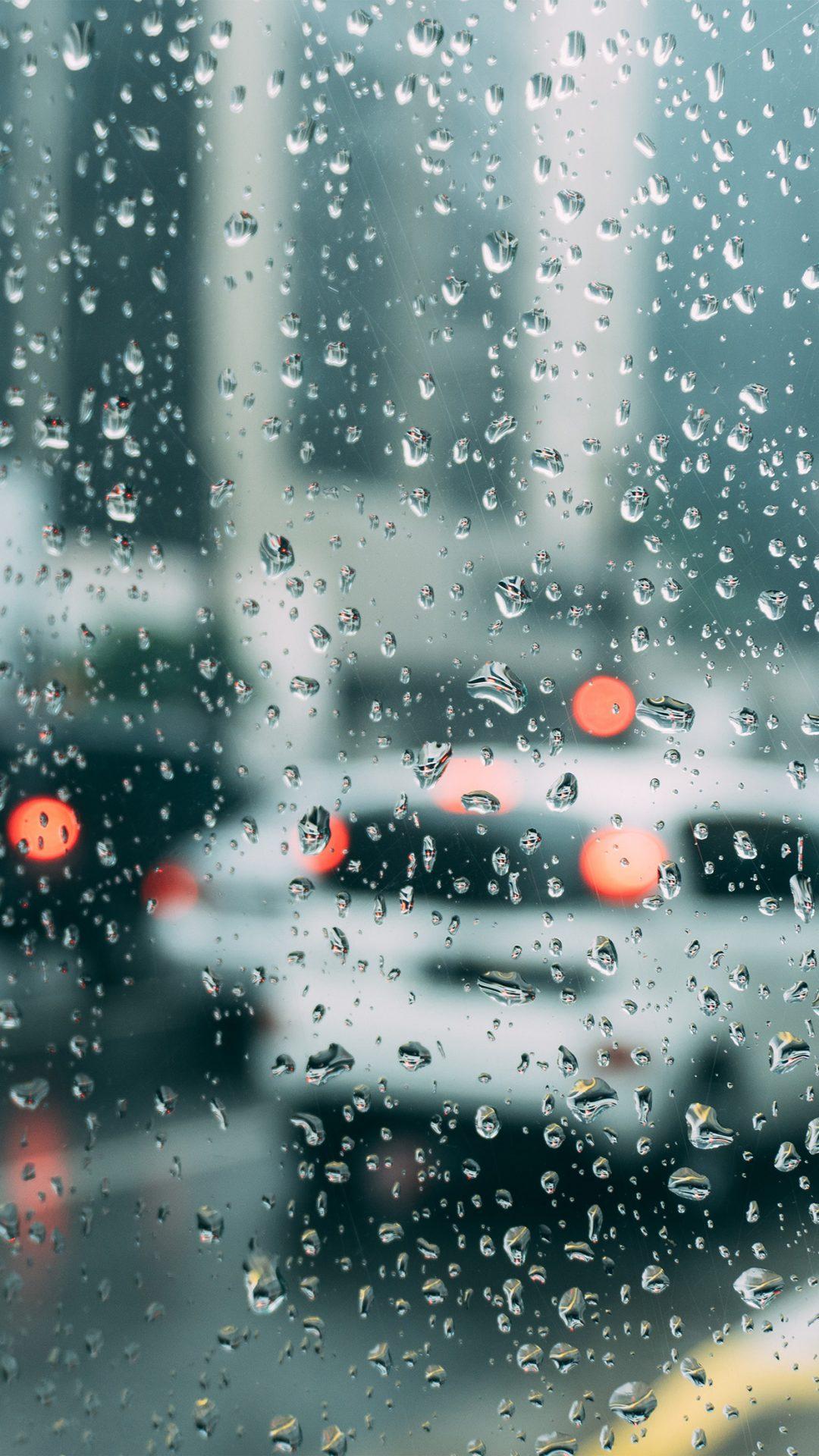 Rain Window Bokeh Art Car Sad