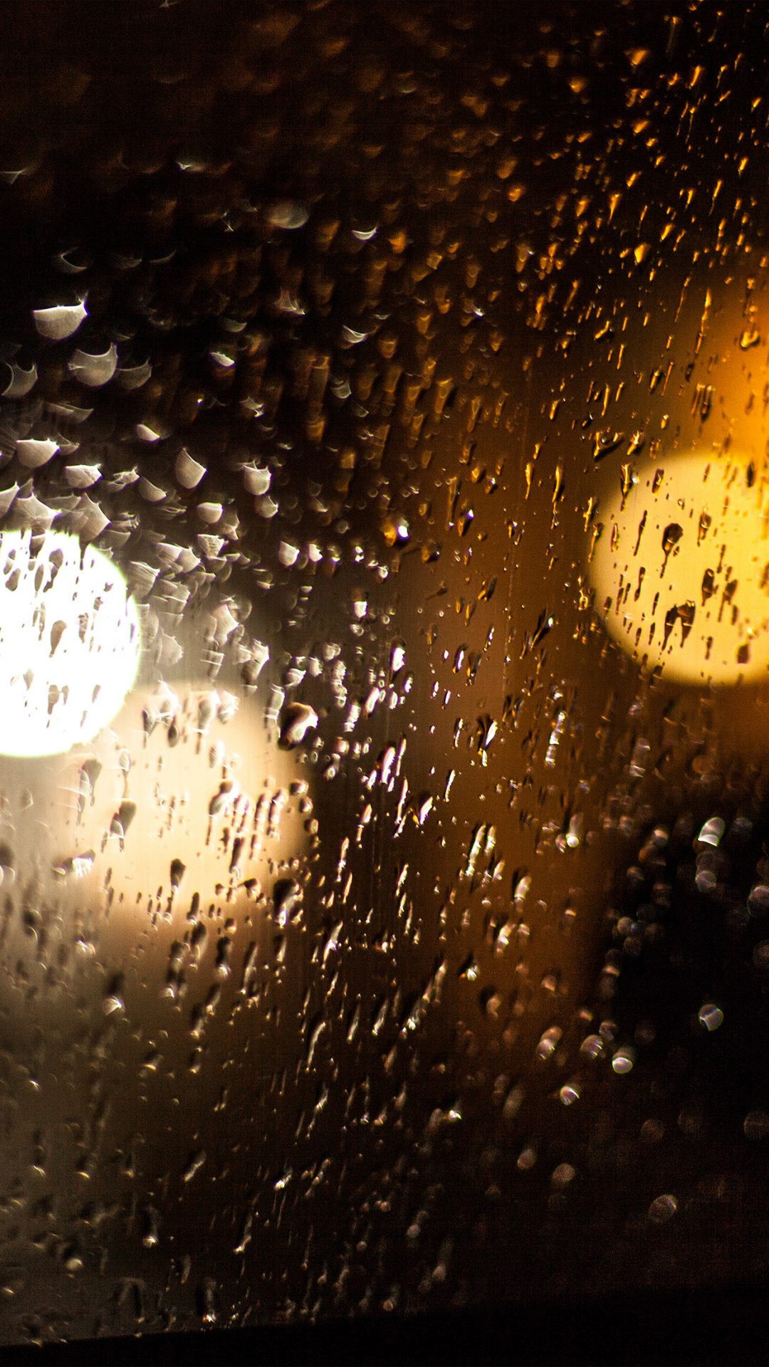 Rainy Night Drops Bokeh Orange Pattern