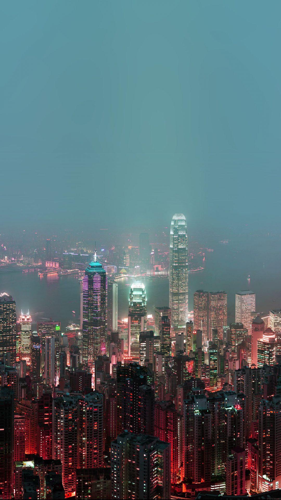 Skyline Hongkong Fire City Night Live