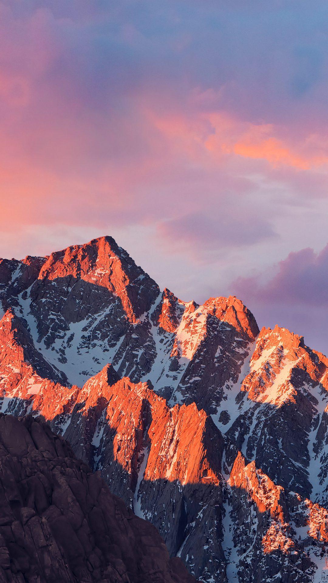4k Sierra Apple Wallpaper Art Mountain Sunset