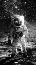 Astronaut Space Art Moon Dark Bw