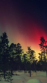 Aurora Night Red Sky Space Dark Romantic