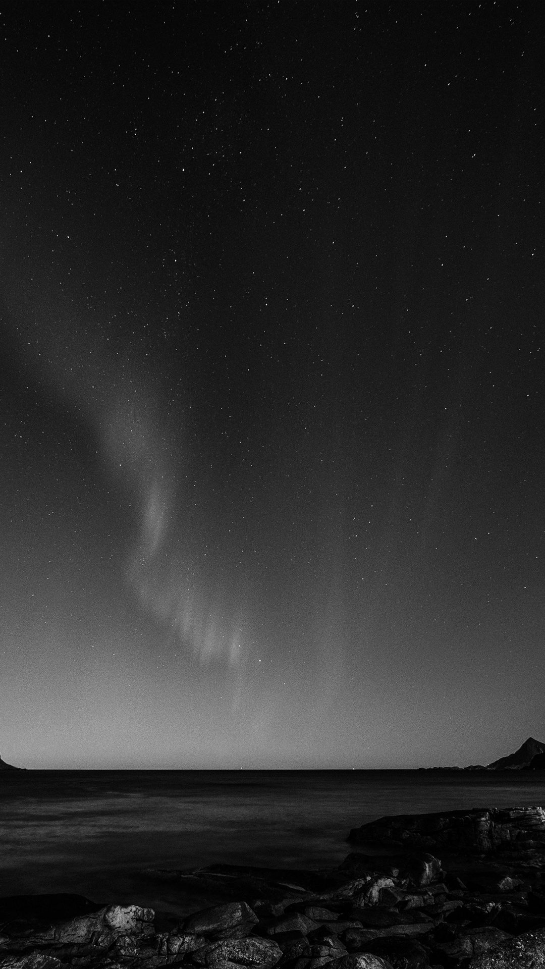 Aurora Night Sky Star Beautiful Space Sea Dark Bw