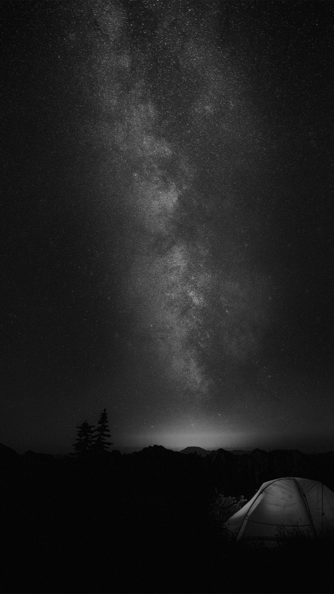 Camping Night Star Galaxy Milky Sky Dark Space Bw Dark