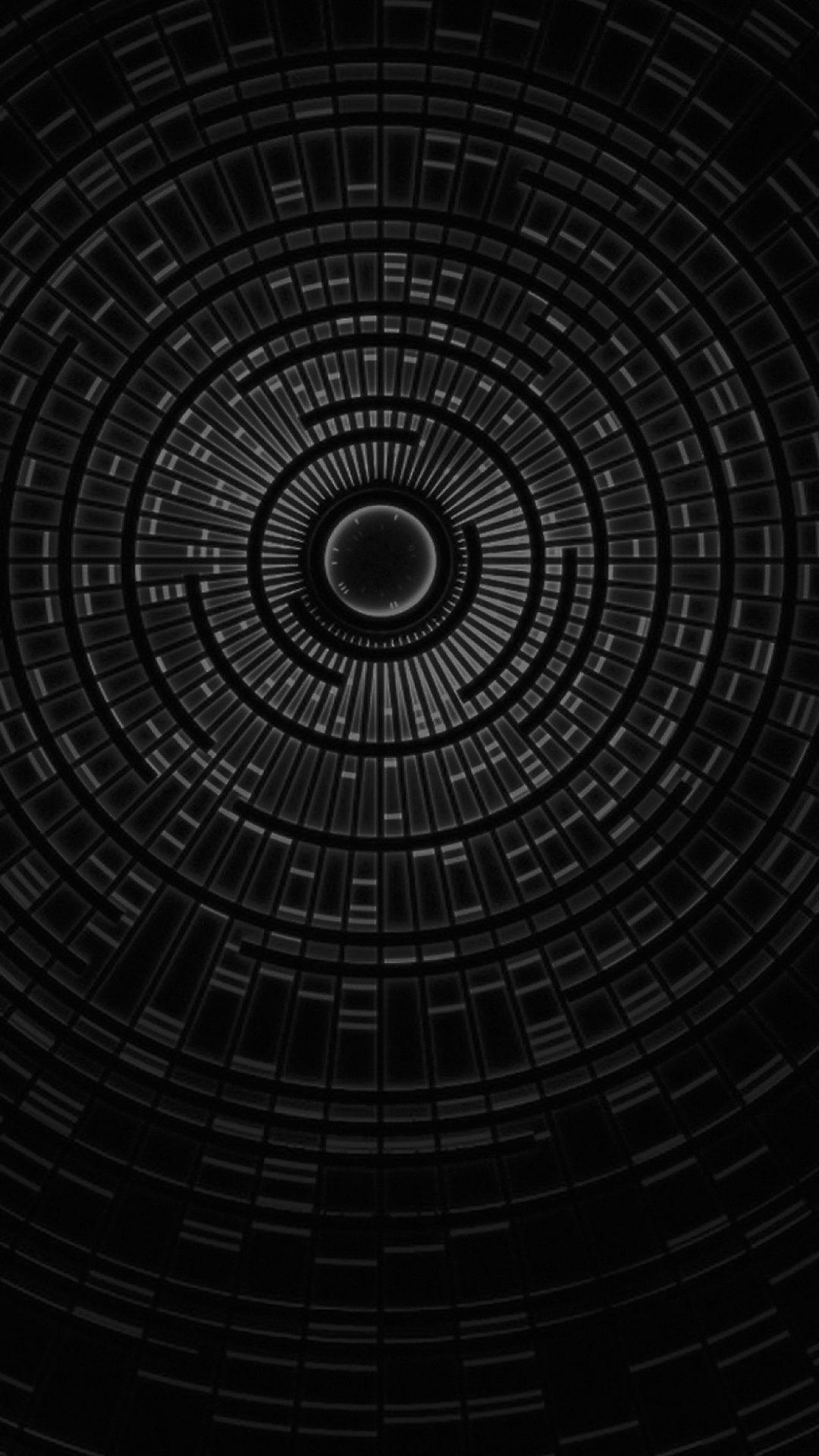 Circle Hole Dark Bw Abstract Pattern