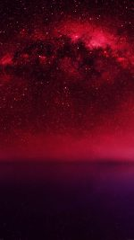 Cosmos Red Night Live Lake Space Starry
