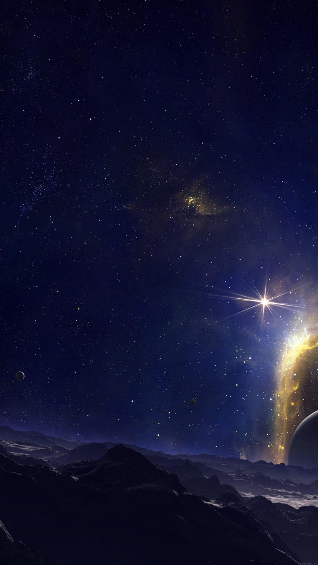 Dark Blue Space Sky Planet Nature Art