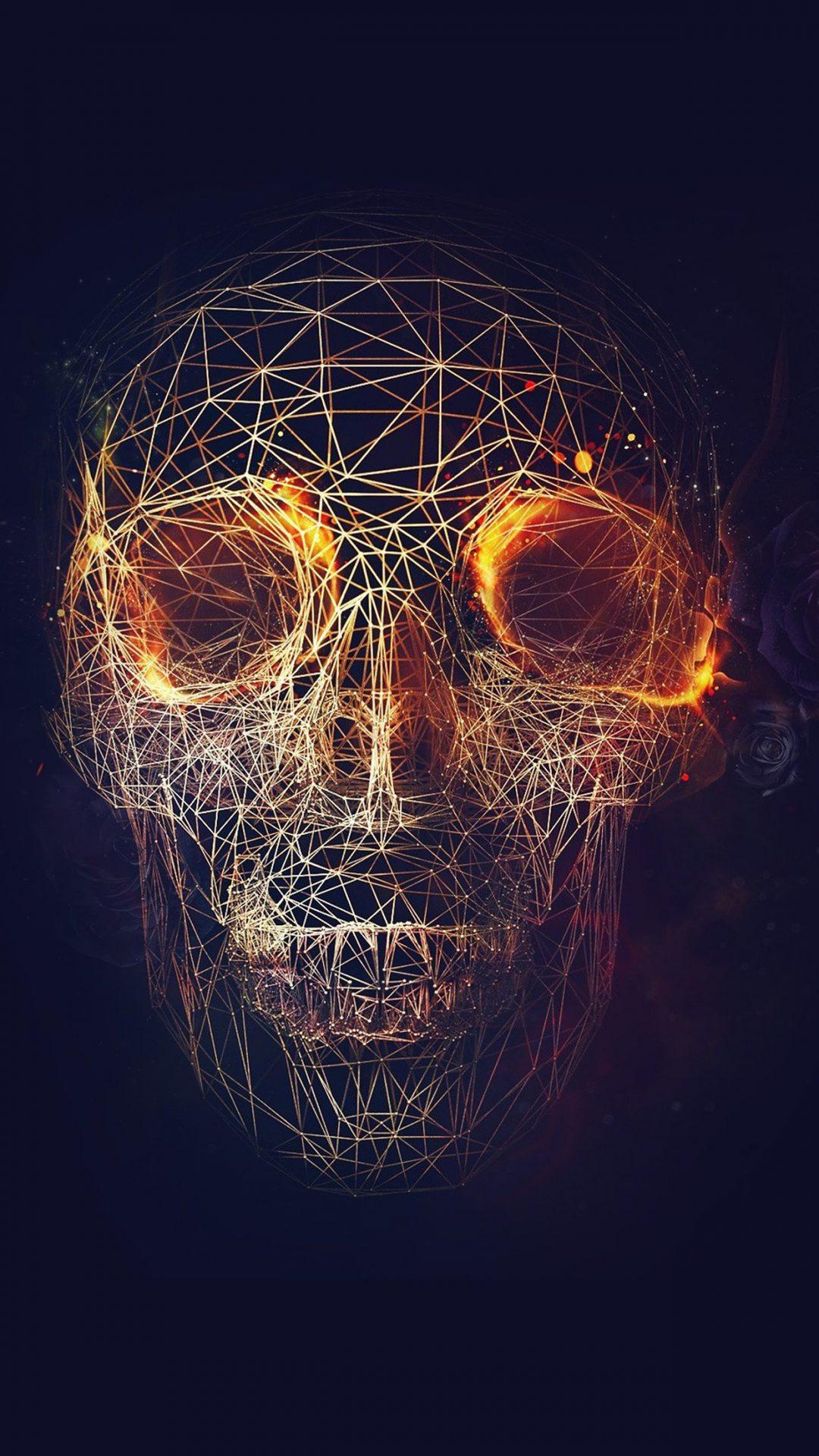 Digital Skull Dark Abstract Art Illustration
