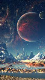 Dream Space World Mountain Sky Star Illustration