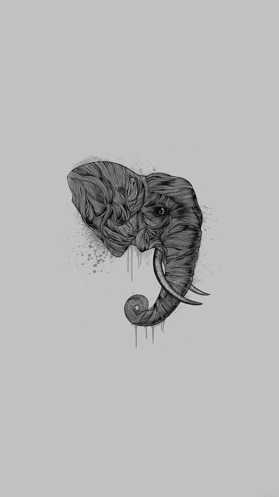 Elephant Art Dark Illust Drawing Animal