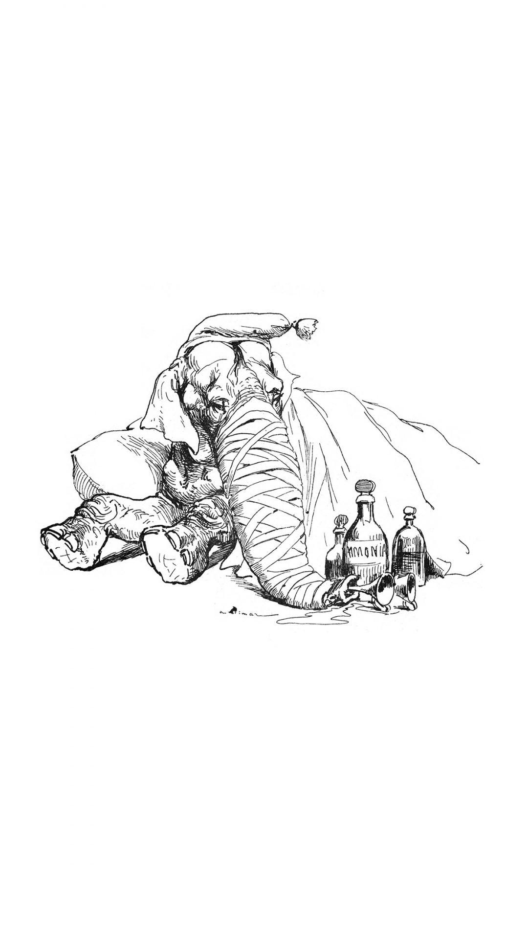 Elephant Drawing Morning Animal Art Illustration