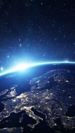 Europe Earth Blue Space Night Art Illustration