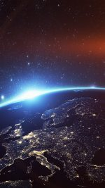Europe Earth Blue Space Night Art Illustration Flare