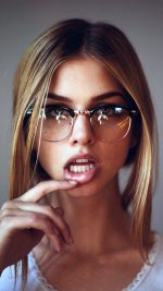 Girl Glasses Lips Beauty Face