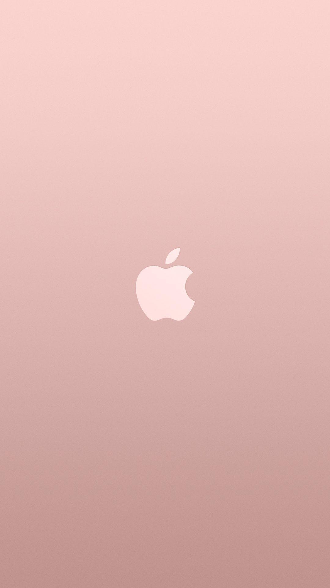 Logo Apple Pink Rose Gold White Minimal Illustration Art