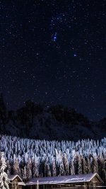 Night Mountain Sky Space Star Cold Winter