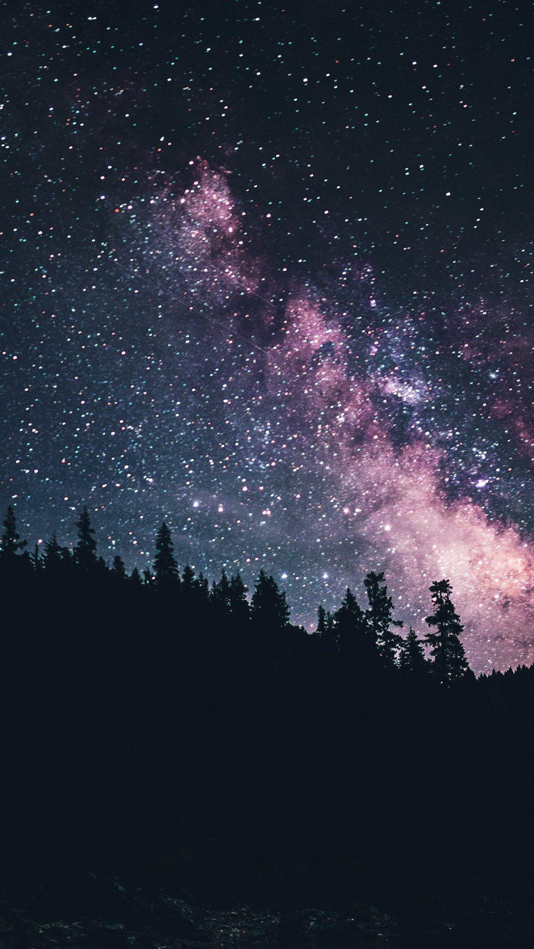 Night Sky Dark Green Space Milkyway Star Nature
