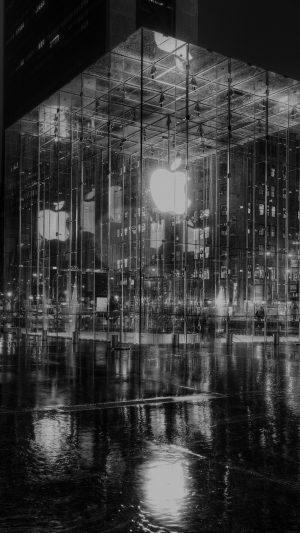 Raining Apple Store Newyork At Night Dark