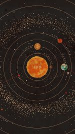 Solar System Space Art Cover Red