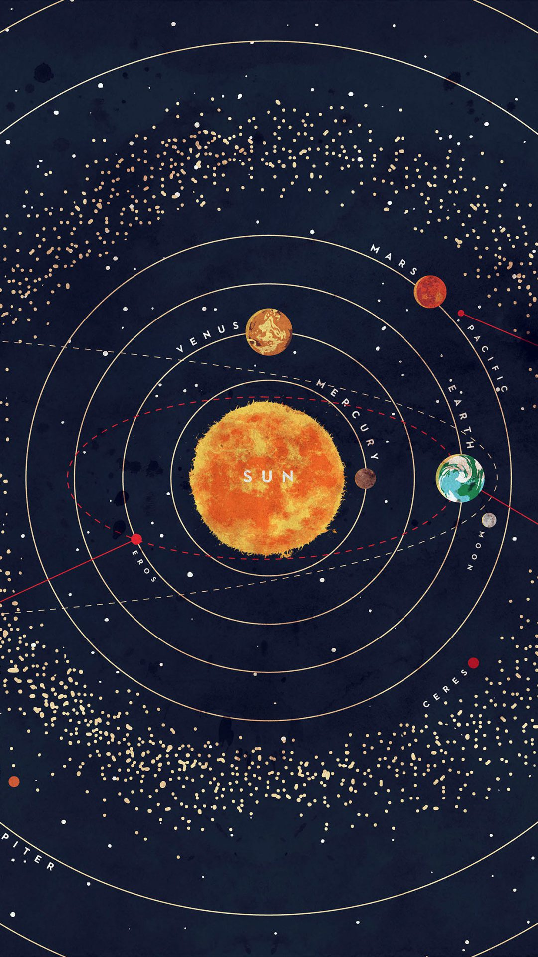 Solar System Space Art Cover Red Blue