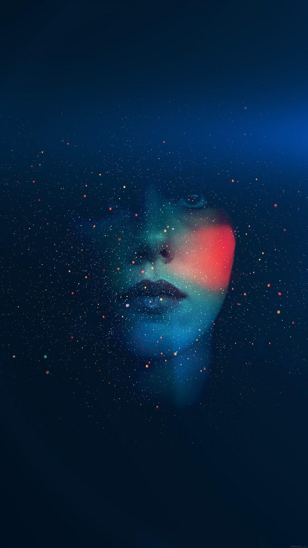 Space Girl Star Art Illust Face Blue