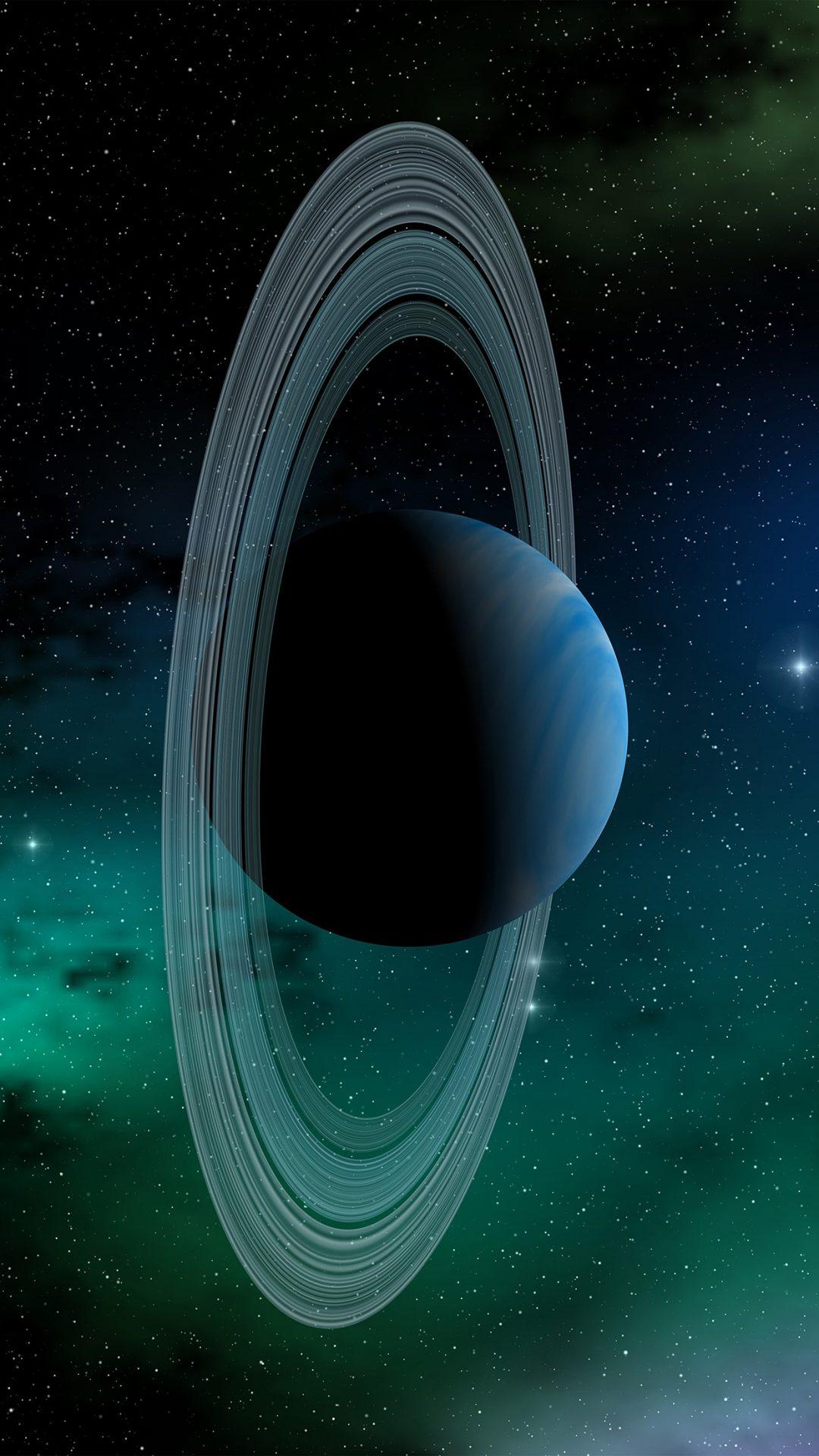 Space Planet Saturn Blue Star Art Illustration