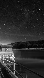 Star Shiny Lake Dark Bw Sky Space Boat Flare