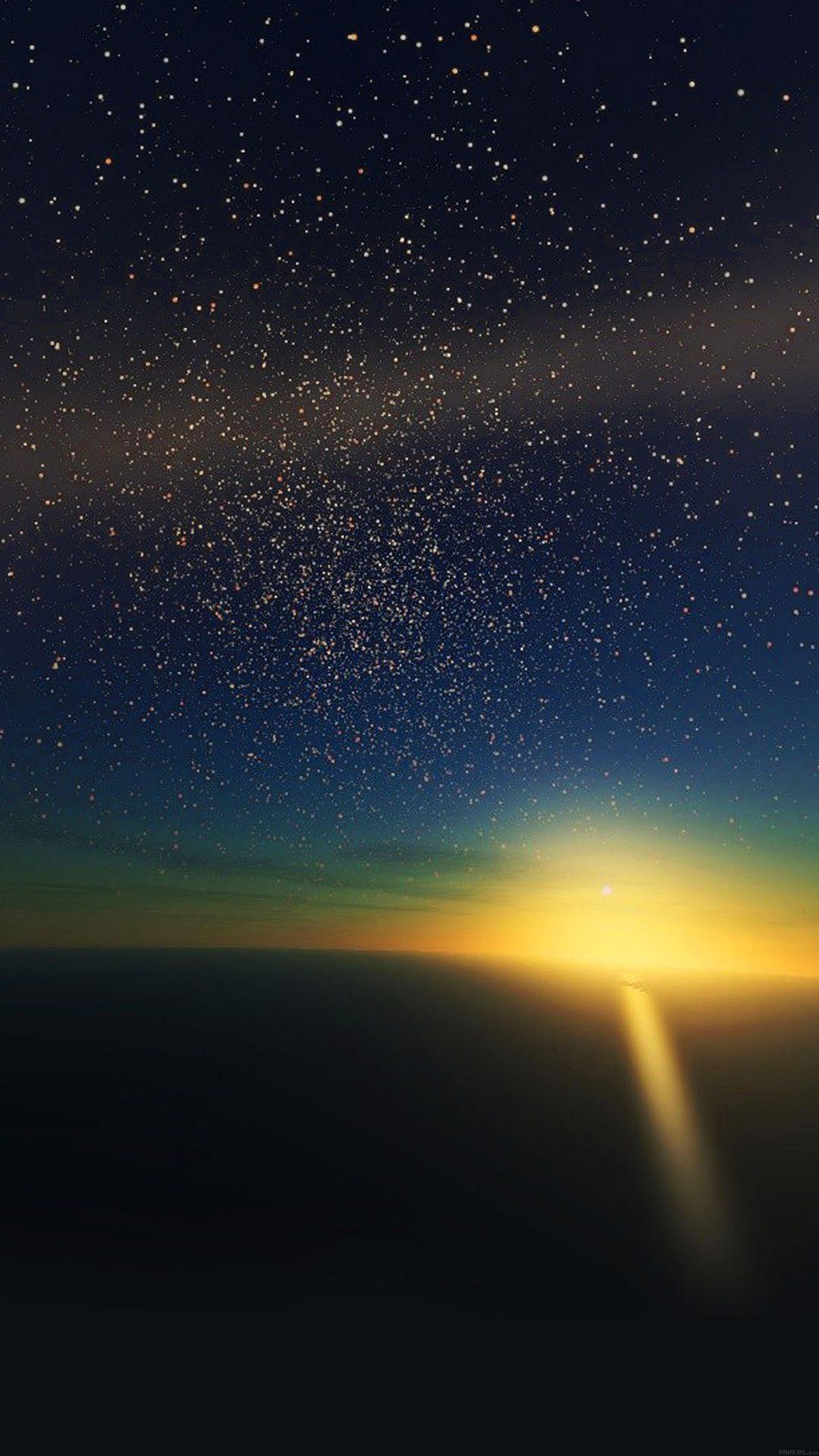 Stars Shine Horizon Space Sky Nature