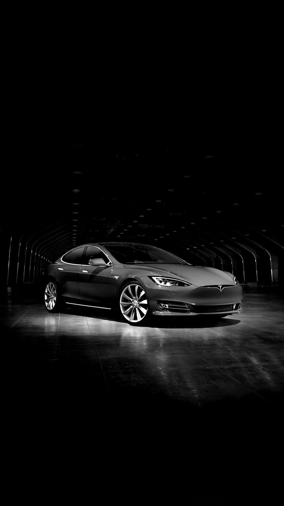 Tesla Model Dark Bw Car