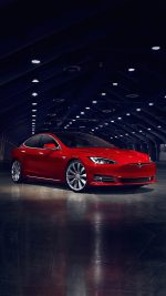 Teslar Model S Red Car Motor Art