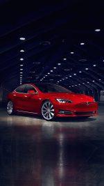 Teslar Model S Red Car Motor Art