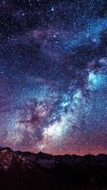 Wallpaper Amazing Milkyway Space Mountain Red