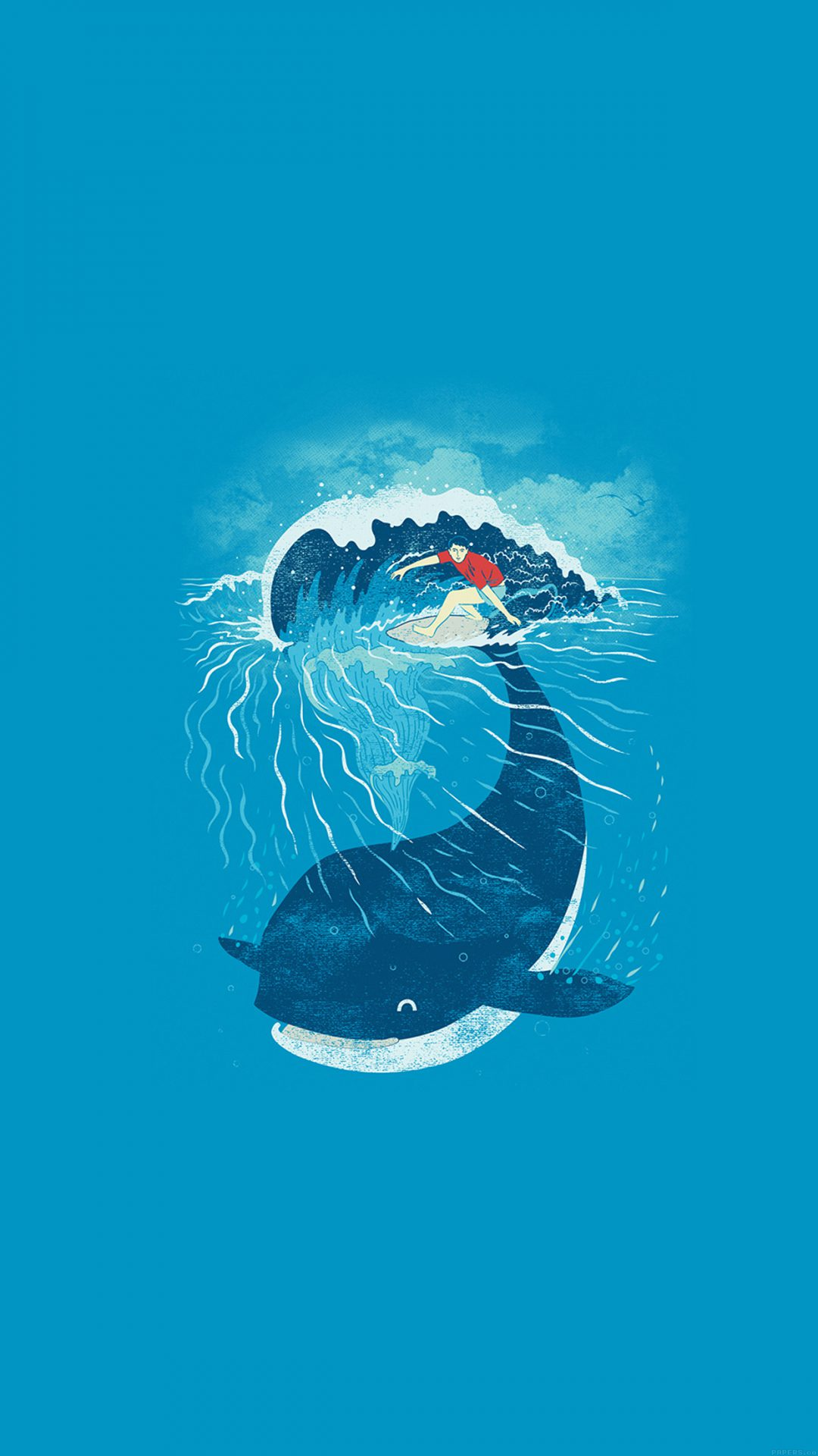 Whale Wave Animal Illust Art Sea